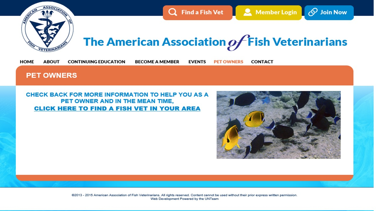 Fish Vets web page